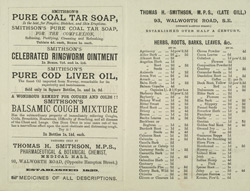 Advert for Smithson's Chemists Shop, reverse side